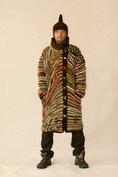 Unique men coat - freeform crochet. Hat in set. OOAK. Beautiful colours.. $1,300.00, via Etsy.