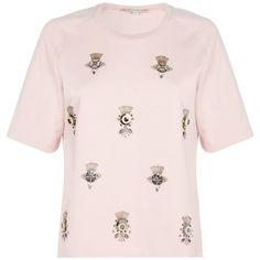 PAUL & JOE SISTER Platinium Sweatshirt (£163) ❤ liked on Polyvore featuring tops, hoodies, sweatshirts, pink, summer sweatshirts, pink crewneck sweatshirt, raglan sweatshirt, embellished top and crewneck sweatshirt