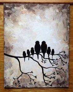 Bird family silhouette black and white
