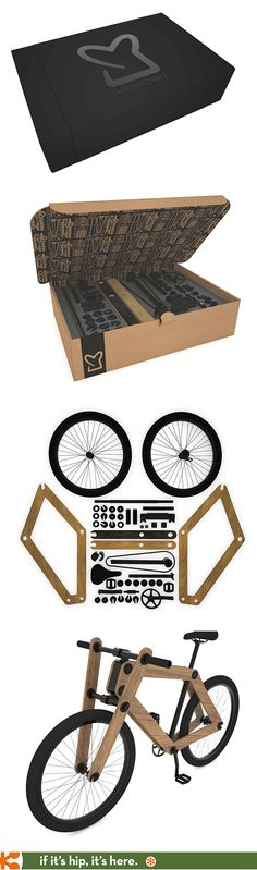 Awesome packaging for a fab product. The flat-packed sandwich bike you assemble yourself comes in the mail.