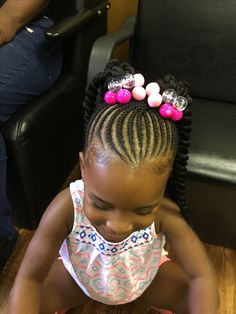 Kids braids with natural base and crochet twist ponytails