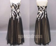 black and white dress black prom dress long prom by sposadress, $176.00