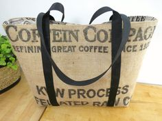 Coffee Bag Tote Coffee Cup Lining Burlap Tote by BackAlleyChic, $46.00