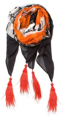 Alexander McQueen feather print scarf on shopstyle.com
