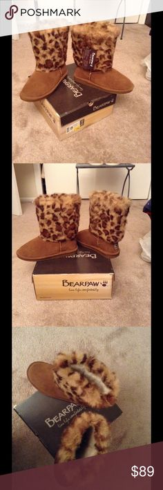 Bearpaw boots  Leopard print, super comfy warm Bearpaw boots, still in box, tags still on boot.  Never got to wear, moving to Fla. Won't be needing them, but oh so super cute and comfy!!! BearPaw Shoes Winter & Rain Boots