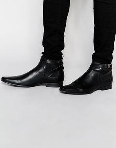 Image 1 of ASOS Chelsea Boots in Black Leather With Seatbelt Buckle
