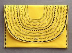 Yellow Aztec Tribal Themed Clutch Bag, Envelope Clutch -new shade