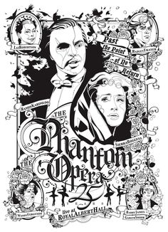Black & White poster .The Phantom of the Opera by Federica Bonfanti, via Behance