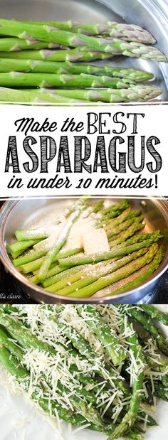 How to make the BEST asparagus in under 10 minutes! No more mushy, flavorless as… How to make the BEST asparagus in under 10 minutes! No more mushy, flavorless asparagus! This is quick, easy, and SO delicious! Think Food, I Love Food, Side Dish Recipes, Vegetable Recipes, Cooking Recipes, Healthy Recipes, Esparagus Recipes, Recipies, Healthy Foods
