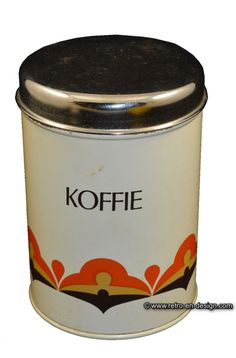 """Retro-Vintage Coffee tin by Brabantia Lovely coffee tin by Brabantia with overprint """"Koffie"""". Lid in chrome. At the bottom side printed with a stylized geometric design in orange, yellow and brown.   Height: 16 cm.  Diameter: 11 cm.  http://www.retro-en-design.co.uk/a-46603579/tins/retro-vintage-coffee-tin-by-brabantia/"""