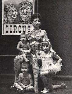 tattooed family, 1955
