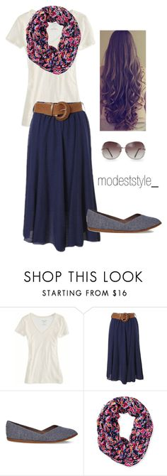 """Floral and navy"" by modeststyle-studio ❤ liked on Polyvore featuring American Eagle Outfitters, TOMS, Aéropostale and MANGO"