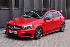 Mercedes-Benz A45 AMG Gets Wrapped in Wonderful Red Matte Foil, Is Boosted to 435 HP - autoevolution