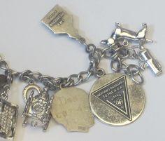 Sterling Silver Charm Bracelet, Silver Charms, Fields, 1960s, Vintage Jewelry, Chicago, Charmed, Bracelets, Women