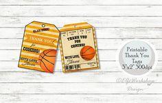 Basketball thank you tags Basketball birthday Basketball