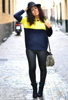 Blue and yellow  , Zara en Sombreros, Sheinside en Jerseys, Zara en Pantalones, Zara en Botines, Sfera en Bolsos