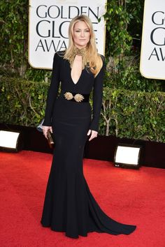 Kate Hudson in a black and gold Alexander McQueen gown at the Golden Globes
