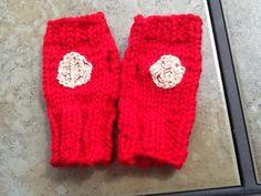 Knitted Iron Man fingerless gloves for grand son....he loved em