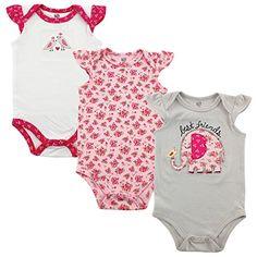 Hudson Baby Baby Girls' 3-Pack Hanging Bodysuit, Best Fri...