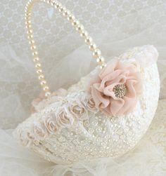 Bridal Ring Bearer Pillow and Flower Girl Basket Set by SolBijou