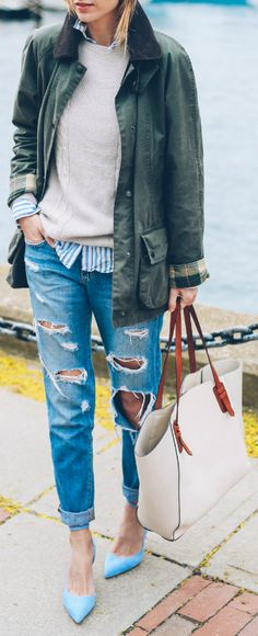 classic preppy style + heavily distressed jeans + Jess Ann Kirby + timeless + awesome + Barbour jacket + cashmere sweater  Jacket: Barbour, Jeans: Joe's Jeans, Sweater: J Crew.