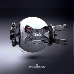 Oblivion: The Bubbleship - Drones - Ideas of Drones - The clean yet intimidating Drone from the movie 'Oblivion'. Concept design by Daniel Simon. Android Robot, Objet Star Wars, Arte Robot, Robot Design, Design Tech, Shape Design, Graphic Design, Futuristic Design, Futuristic Cars