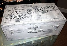 Painted Vintage Trunk - Paris Grey Chalk Paint, Vintage French Ad, and distressed to  perfection (inventory:4)