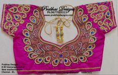 Aari Embroidery classes by PrabhasDesigns Wedding Saree Blouse Designs, Best Blouse Designs, Pattu Saree Blouse Designs, Blouse Neck Designs, Traditional Blouse Designs, Peacock Embroidery Designs, Mirror Work Blouse, Maggam Work Designs, Hand Work Blouse Design