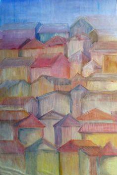 Paesaggio olio su cartone telato