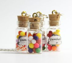 pics of miniature bottle charms | miniature gumball necklace gumballs in glass bottle vial pendant charm ...