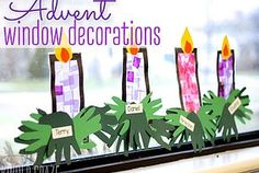 Window Decorations for Christmas : Description Celebrate the seasons of Christmas and Advent with this simple stained glass window craft made from contact paper, construction paper and tissue paper. Preschool Christmas, Christmas Activities, Christmas Crafts For Kids, Kids Christmas, Holiday Crafts, Contact Paper Crafts Christmas, Kids Advent Crafts, Advent For Kids, Christmas Tables