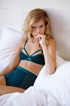 Cozy, Sexy, and Totally Chic: A Winter Loungewear Editorial - Lingerie: Silence + Noise Alexis Strappy Soft Bra in Emerald Green , Ariel Gordon Rose Gold Love Knot Ring | StyleCaster