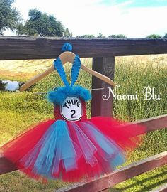 Copious: Dr. Suess inspired Embroidered Thing1 Thing 2 Tutu dress. Miss Thing.