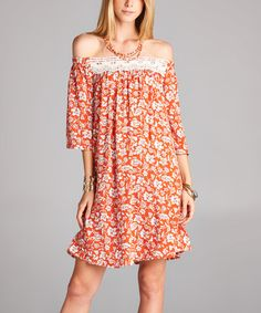 Loving this Coral Floral Lace Off-Shoulder Dress on #zulily! #zulilyfinds