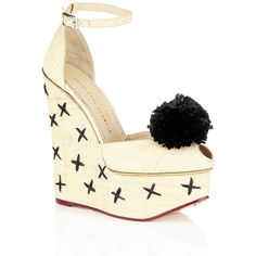 Charlotte Olympia Melody Raffia Wedge ($960) ❤ liked on Polyvore featuring shoes, sandals, wedges, charlotte olympia, heels, high heel platform sandals, platform wedge shoes, golden shoes, raffia sandals and high heel shoes