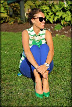 blue pants striped top #coloredpants #fallstyle