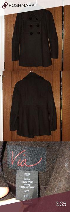 Via Chocolate Brown Peacoat Via Chocolate Brown Peacoat. Size XXS.  Good condition! Mild piling. via Jackets & Coats Pea Coats