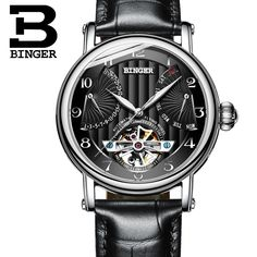 100.98$  Watch more here - http://aiwv3.worlditems.win/all/product.php?id=32798289128 - Switzerland watches men luxury brand BINGER business sapphire Water Resistant leather strap Mechanical Wristwatches B-1172-2