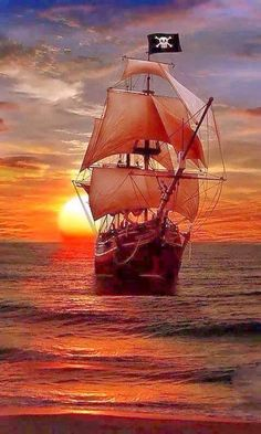 Pirate Ship Sailing on the Evening Sea, Tall Ships, Bateau Pirate, Old Sailing Ships, Sailing Boat, Black Sails, Pirate Life, Lady Pirate, Ship Art, Water Crafts
