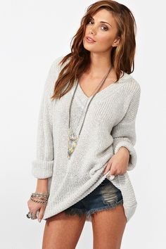 Maddy Oversized Knit - Silver ~ $68.00 at nastygal.com