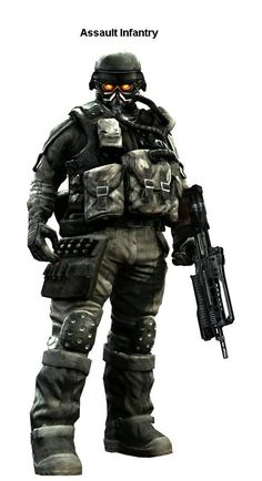 Helghast soldier from Killzone 1-3. They speak in a rough, East London accent.