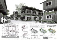 No.1046 松島潤平(東京工業大学大学院/松島潤平建築設計事務所) Architecture Panel, Architecture Portfolio, Architecture Design, May House, Urban Village, Sea Ranch, Collage Illustration, Design Competitions, Type Setting