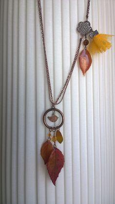 Collier de vrai feuilles vitrifiées