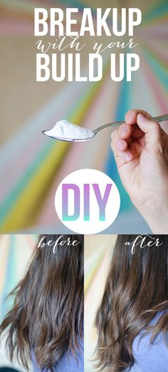 Up with your Build Up Build up can make your hair brittle, dry and unmanageable. Get rid of it with this super simple DIY!Build up can make your hair brittle, dry and unmanageable. Get rid of it with this super simple DIY! Baking Soda Shampoo, Diy Shampoo, Baking Soda In Hair, Clarifying Shampoo Diy, Homemade Shampoo, Homemade Facials, Natural Hair Care, Natural Hair Styles, Natural Beauty