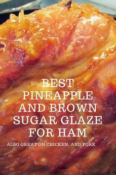Easy Pineapple and Brown Sugar Glaze for Ham! Make this easy recipe for a pineapple brown sugar ham glaze. This pineapple brown sugar glaze is a crushed pineapple glaze for ham, pork chops or chicken. Pineapple Glaze For Ham, Crushed Pineapple, Cooked Pineapple, Crockpot Ham With Pineapple, Spiral Ham Glaze Recipe, Spiral Ham Crockpot, Ham Brown Sugar Pineapple, Ham In Crockpot, Gourmet