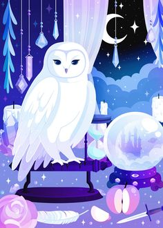 Owl, to go with the previous illustration of the cat :) Website Cute Animal Drawings, Kawaii Drawings, Cute Drawings, Coral Art, Cute Art Styles, Goth Art, Kawaii Wallpaper, Pastel Art, Kawaii Art