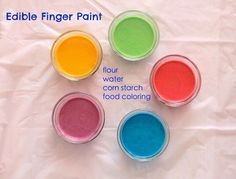 How to make Homemade Edible Finger Paint safe for babies and toddlers with only 4 common kitchen ingredients.