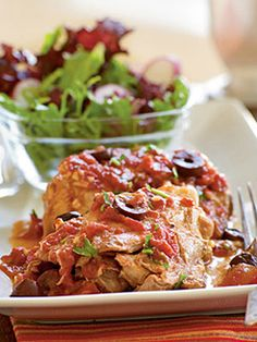 Recipes from The Nest - Chicken Thighs with Olives and Tomato Sauce