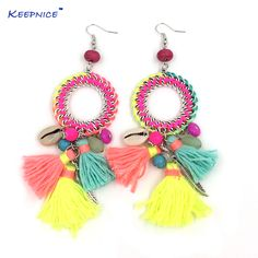 Cheap dangle earrings, Buy Quality bohemian dangle earrings directly from China dream catcher earrings Suppliers: New Ethnic Bohemian Dangle Earrings With Cotton Tassel Colorful Summer Style Dream Catcher Earrings Fabric Jewelry, Diy Jewelry, Handmade Jewelry, Jewelry Making, Tribal Earrings, Boho Earrings, Fashion Earrings, Purple Dream Catcher, Dream Catcher Earrings