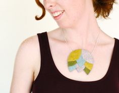 """Tiered Statement Necklace in Silver, Mint, Olive, and Dijon / 16 - 18"""" /  OOAK"""